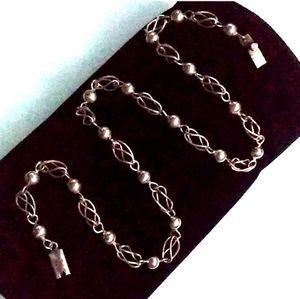VINTAGE Solid Sterling Unique Link Necklace- Taxc